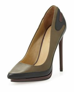 Jeanii Stacked-Platform Pump, Army Green/Black by L.A.M.B. at Neiman Marcus Last Call.