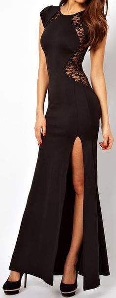 Black Lace Split Maxi Dress ♥ #lbd