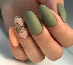Green Nail Designs, Almond Nails Designs, Fall Nail Designs, Nail Polish Designs, Art Designs, Design Ideas, New Nail Colors, Solid Color Nails, Wedding Nail Polish