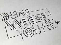 accidental-typographer:  start where you are Handwritten typography 4.7.13 photo