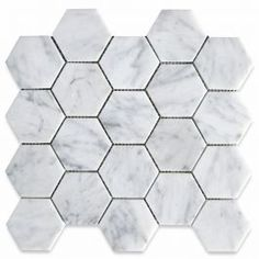 Italian Bianco Carrera White Venato Carrara Polished 3 in Hex Mosaic Tiles are perfect for any interior project. Carrara White Marble Hexagonal Mosaic tile can be used for kitchen backsplash, bathroom shower floor Grey Bathroom Floor, Shower Floor, Bathroom Flooring, Tile Floor, Hall Bathroom, Bathroom Countertops, Modern Bathroom, Hexagon Mosaic Tile, Marble Mosaic