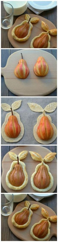 DIY Desserts for Thanksgiving- Desserts for Thanksgiving Pears in Puff Pastry. Ripe sweet pears, roll out on a puff pastry, sprinkled with a pinch of sugar. Fall Recipes, Sweet Recipes, Just Desserts, Dessert Recipes, Desserts Diy, Gourmet Desserts, Baking Desserts, Plated Desserts, Good Food