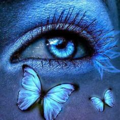 Blue Eye, Blue Eye Shadow And Blue Butterflies ~ Beautiful Dreamer pieces) Blue Butterfly Wallpaper, Butterfly Eyes, Beautiful Fantasy Art, Beautiful Eyes, Blue Eyes Aesthetic, Eyes Artwork, Rainbow Photo, Magic Eyes, Blue Eyeshadow