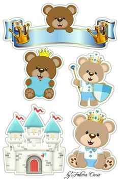 Teddy Bear Prince Free Printable Cake Toppers in Light Blue. - Oh My Baby! Baby Shower Oso, Prince Cake, Deco Stickers, Diy And Crafts, Paper Crafts, Bear Theme, Baby Boy 1st Birthday, Baby Shawer, Baby Decor
