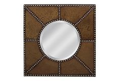 One Kings Lane - Wake Up Your Space - Studded Wall Mirror, Deep Gold