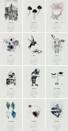 El calendario más bonito de 2016 (para imprimir gratis) : via La Garbatella