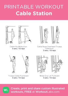 Cable Station my visual workout created at Workou Smith Machine Workout, Cable Machine Workout, Gym Workout Plan For Women, At Home Workout Plan, 30 Day Fitness, Planet Fitness Workout, Oblique Workout, Gym Workouts, Weekly Workouts