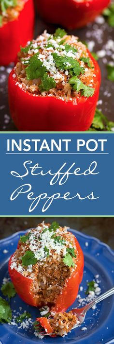Instant Pot Stuffed Peppers are so easy to make, and ready in under an hour! Great weeknight meal. simplyhappyfoodie.com