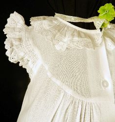 Girl's white old fashioned cotton nightgown