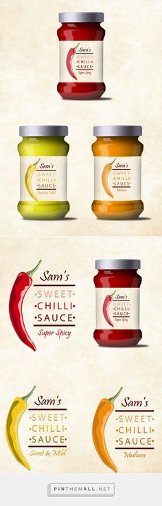 Sam's Sweet Chilli Sauce by Sadia Dramani. Source: Bechance. #SFields99 #packaging #design #inspiration #ideas #branding #product #sauce #illustration