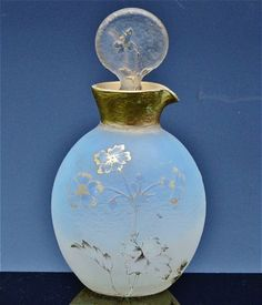 *1910 DAUM NANCY FRANCE CAMEO CUT ART GLASS GOLD GILT PERFUME BOTTLE