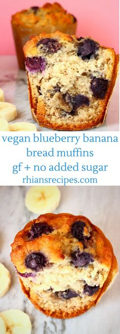 Gluten-Free Vegan Blueberry Banana Bread Muffins are sweet and fruity, super easy to make and free from added sugar! Perfect for breakfast, a healthy snack, or dessert. Banana Blueberry Muffins, Banana Bread Muffins, Vegan Muffins, Gluten Free Muffins, Vegan Gluten Free, Gluten Free Recipes, Free From Recipes, Gluten Free Churros Recipe, Vegan Recipes For Kids
