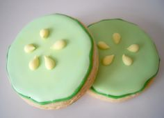 spa cookies | Cooling Cucumber Slice Cookies to put in Salon/Spa Party Favor Bags