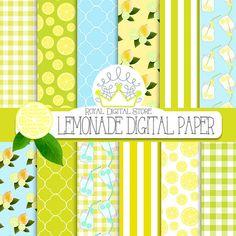 "Lemon Digital Paper: "" Lemonade Digital Paper"" with yellow lemons, lemonade, quatrefoil background, yellow gingham, yellow stripes, blue"