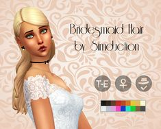 Bridesmaid Hair by SimductionNew hair for females. Comes in 18 colours, hat compatible. Feel free to recolour! TOU: Don't claim as your own, don't reupload and if you do recolors do not include the...