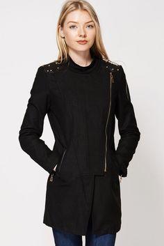 NEW LADIES WOMEN S WINTER STUDDED SHOULDER ASYMMETRIC STYLE LONG JACKET #Outwear #Coats #Jacket