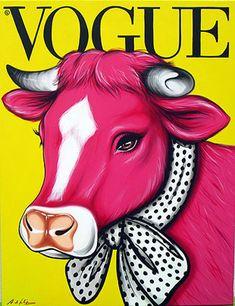 Antonio de Felipe ~ Pink Cow on Vogue Magazine Cover Pop Art Pink Cow, Pop Art Illustration, Magazine Art, Vogue Magazine, Magazine Covers, Cow Art, Graffiti, Cultura Pop, Art Photography