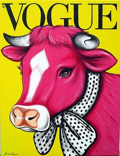 Antonio de Felipe ~ Pink Cow on Vogue Magazine Cover Pop Art