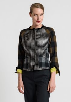Etro Multi Plaid Fitted Jacket in Black/White