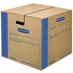 Bankers Box SmoothMove Prime Moving Boxes, Tape-Free and Fast-Fold Assembly, Medium, 18 x 18 x 16 Inches, 8 Pack (0062801) - Secure closure without using tape. Strong, durable hand holes for comfortable moving and lifting. FastFold quick and easy assembly. No tape required - lid locks into place for secure closure. Easy to break down and store flat until ready for reuse. All boxes constructed from strong 32 ECT C-Flute...