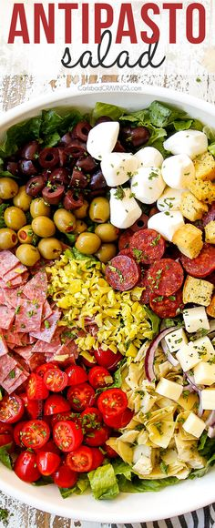 This Antipasto Salad combines the best Italian appetizers into one sensational salad! It's easy to make, exploding with bright flavors and textures and is the most satisfying, crowd-pleasing salad you will ever sink your teeth into! #salad #saladrecipes #dinner #dinnerrecipes #dinnertime #Italianrecipes #easyrecipe #antipasto #antipastosalad #Italianfood #salami #pepperoni #olives #mozzarella #artichokes #olives #pepperoncini via @carlsbadcraving Veggie Side Dishes, Side Dish Recipes, Entree Recipes, Appetizer Recipes, Dinner Recipes, Cooking Recipes, Easy Recipes, Main Dishes, Savory Salads
