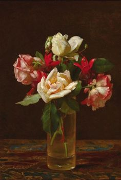 George Cochran Lambdin oil painting, Still Life with Roses and Fuchsia, 1873. Signed and dated lower right: Geo. C. Lambdin 1873
