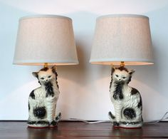 Chalkware Cat Lamps by ARTificialLights on Etsy