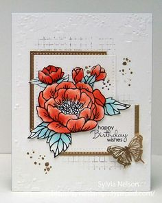 Happy Birthday Wishes.Floral Birthday by Sylviascorner on Etsy Happy Birthday Wishes, Birthday Cards, Stamping Up, Beautiful Day, Card Making, Bloom, Paper Crafts, Floral, Handmade