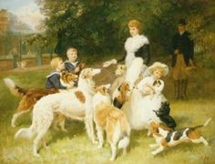 Queen Alexandra with her dogs, Prince Edward, Prince Albert, and Princess Mary