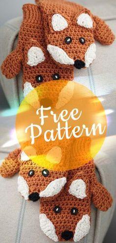 FOX MITTENS FREE PATTERN #foxmittens #crochetfox