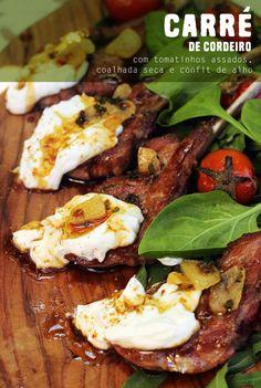 carré de cordeiro com coalhada seca e tomatinhos assados - lamb rack with garlic confit and baked cherry tomatos