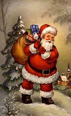 Santa - A Merry Christmas. Vintage Christmas Images, Retro Christmas, Vintage Holiday, Christmas Art, Christmas Greetings, Winter Christmas, Father Christmas, Christmas Postcards, Christmas Traditions