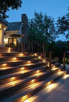éclairage pour terrasse en bois extérieur escalier spot led encastrable