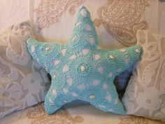 Nautical Starfish Pillow with Shells.Vintage Crocheted Spread. Turquoise and White. Under the Sea. Coastal Living by searchnrescue2