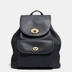 MINI turnlock rucksack in pebble leather by Coach