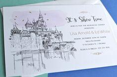 Disneyland Fairytale, Cinderella's Castle Wedding Hand Drawn Rehearsal Dinner Invitation Cards (set of 25 cards)