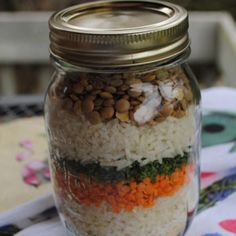 Makes: 4 Servings  Ingredients FOR JAR: 2 tbsp chicken bouillon 1/3 cup uncooked converted rice 1/3 cup red lent