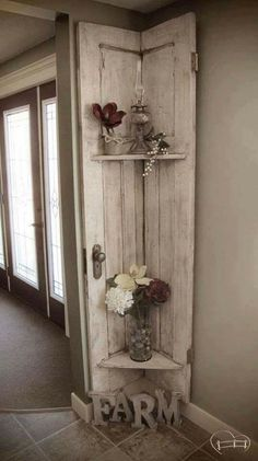 Faye from Farm Life Best Life turned her old barn door into a stunning, rustic shelf with Chocolate Tart, Vanilla Frosting, and Crackle Medium! # rustic Home Decor Almost Demolished, Repurposed Barn Door Decor Barn Door Decor, Vintage Door Decor, Vintage Doors, Antique Doors, Archway Decor, Entrance Decor, Entryway Decor, Old Barn Doors, Wood Doors