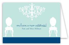 Teal Chandelier Folded Note Card from Polka Dot Design