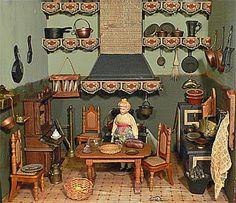 Keuken uit een antiek poppenhuis met vier kamers