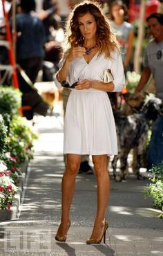Gorgeous White Dress and Fun Shoes (Sex and the City 2)