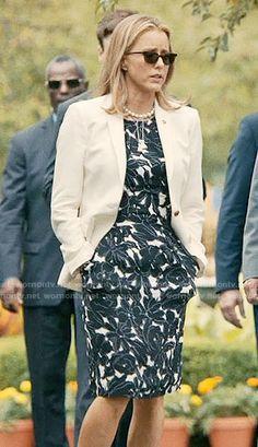 Elizabeth's black and white floral dress on Madam Secretary.  Outfit Details: https://wornontv.net/61204/ #MadamSecretary