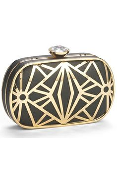An Art Deco-inspired motif gilds a party-ready faux-leather clutch topped with a sparkling clasp for a glamorous finish. Drop-in chain strap. By Natasha Couture Look Fashion, Fashion Bags, Couture Fashion, Great Gatsby Outfits, Putting On The Ritz, Art Deco, Summer Bags, Girls Accessories, Swagg
