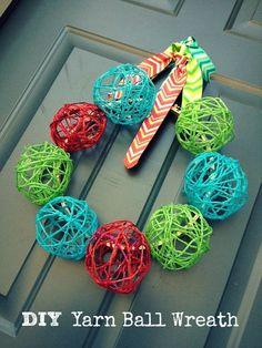 From CUL-DE-SAC COOL: Cool, fun, cheery DIY YARN BALL WREATH