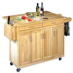 Wood-top Drop-leaf Rolling Kitchen Island With Towel Rack (natural)