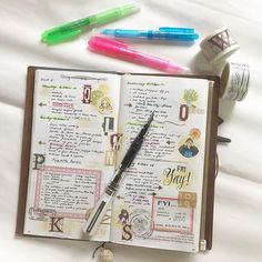 Trying out bullet journaling - decorated of course! You know why decorating my journal/ planner works for me? Because it makes me want to open my notebook and it brings me joy. What works for me may not work for others. What ever your style is as long as it helps you be on top of things is all that matters!  #midoritravelersnotebook #travelersnotebook #travelersnote #notebook #planner #agenda #diary #journal #plannerpages #bulletjournaling #bujo #bulletjournal #stationery #fountainpen