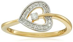 Yellow Gold Plated Sterling Silver Heart Diamond Ring 110cttw IJ Color I2I3 Clarity Size 6 >>> You can find more details by visiting the image link.Note:It is affiliate link to Amazon.