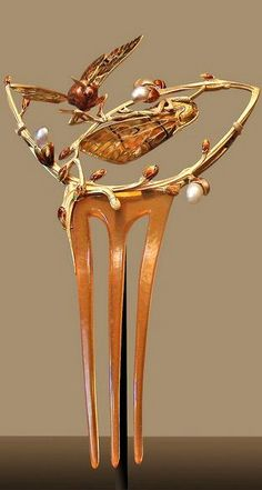 Art Nouveau Plique-à-Jour Enamel, Pearl, and Gold Moths Hair Comb (1902) by Gaston Chaupard