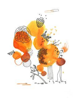 orange, encre, Cécile Hudrisier