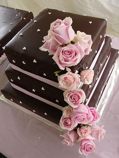 Cascading pink roses square cake Chocolate Brown Wedding, Brown Wedding Cakes, Wedding Cake Roses, Love Chocolate, Ribbon Wedding, Chocolate Cake, Rose Wedding, Gorgeous Cakes, Pretty Cakes